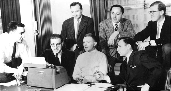 Front, from left, Gary Belkin, Sheldon Keller, Michael Stewart, Mel Brooks; behind, Neil Simon, Mel Tolkin and Larry Gelbart.